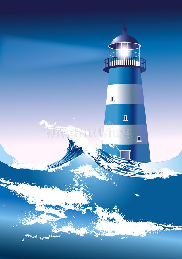 Download Lighthouse stock vector. Image of dark, catastrophe, rocks - 24457086
