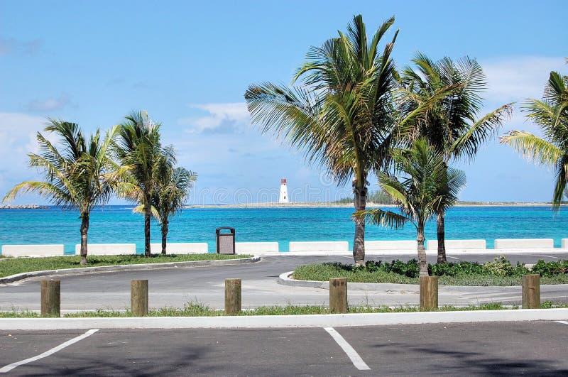 Lighthouse Island Palm Trees Parking Lot Bahamas stock photos