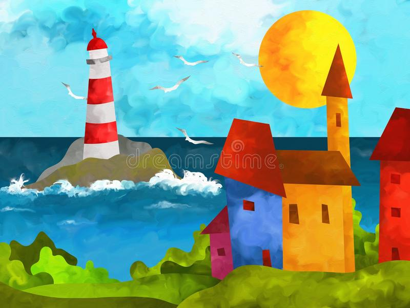 Download Lighthouse stock illustration. Image of beauty, outdoor - 28821352