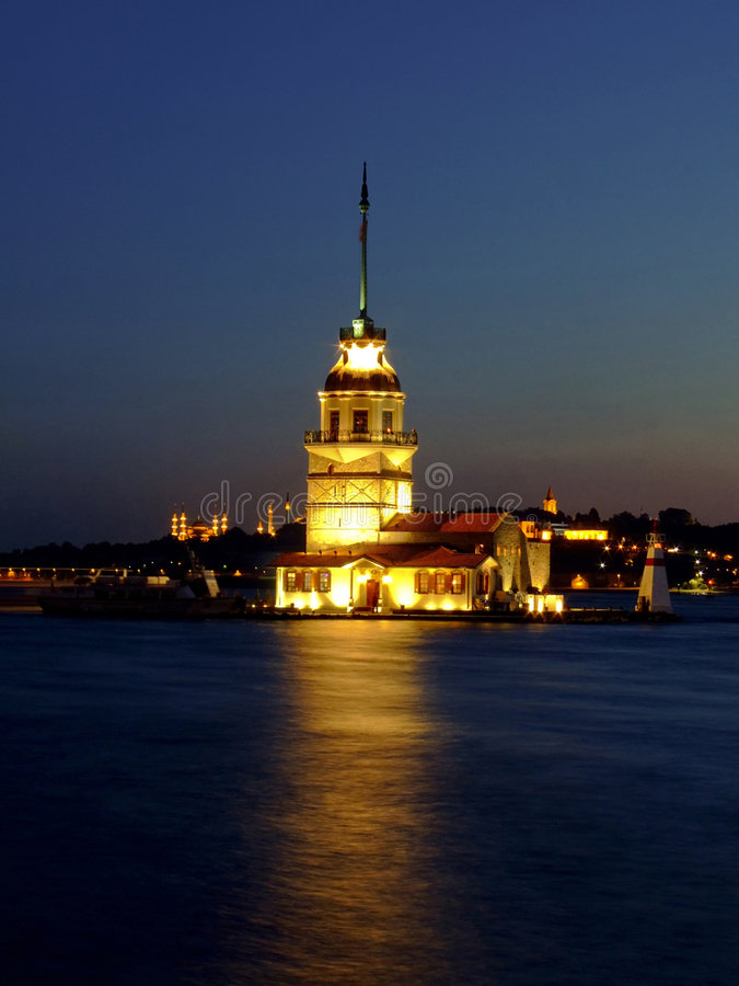 Lighthouse. Famous Istanbul ancient lighthouse on the canal royalty free stock photo