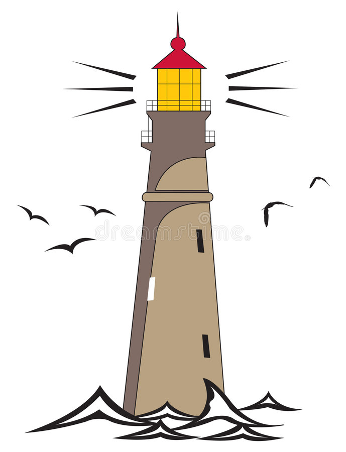 Lighthouse. Vector illustration of a lighthouse shining