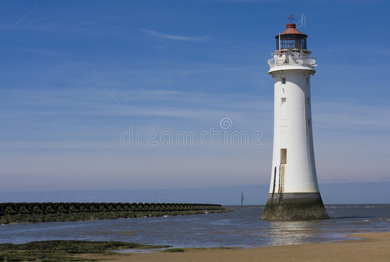 The lighthouse. At new brighton royalty free stock images
