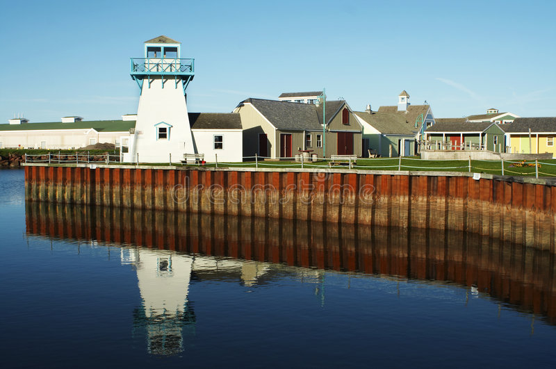 Lighthouse. Spinnakers landing summerside Prince Edward Island with blue sky and ocean in the background royalty free stock photos