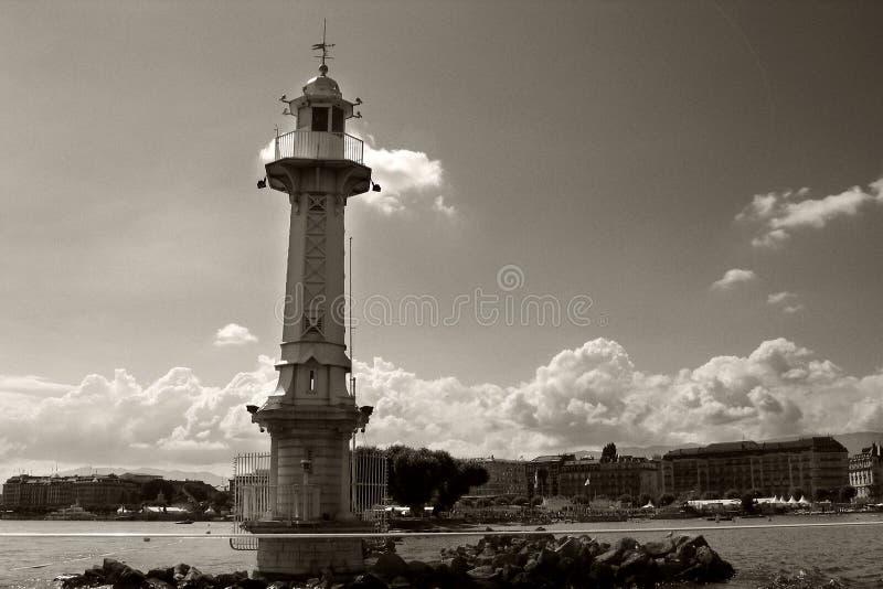 Lighthouse on Lake Geneva stock images