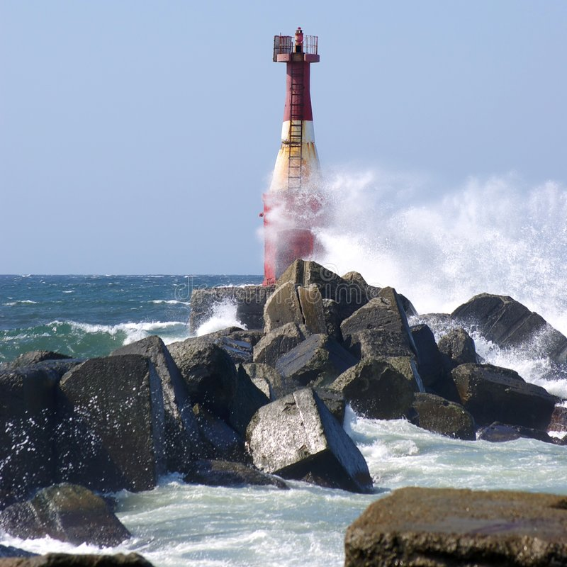 Download Lighthouse stock image. Image of gray, water, ocean, wind - 9012439