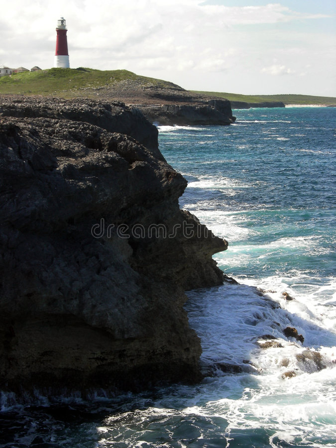 Lighthouse On Abaco. Lighthouse located at Hole In The Wall, an area on the remote south side of the island of Abaco in the Bahamas stock photos