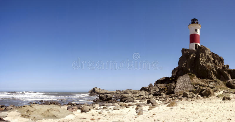 Lighthouse. Abandoned lighthouse on the beach of the island Mocha, biobio region of Chile stock photography