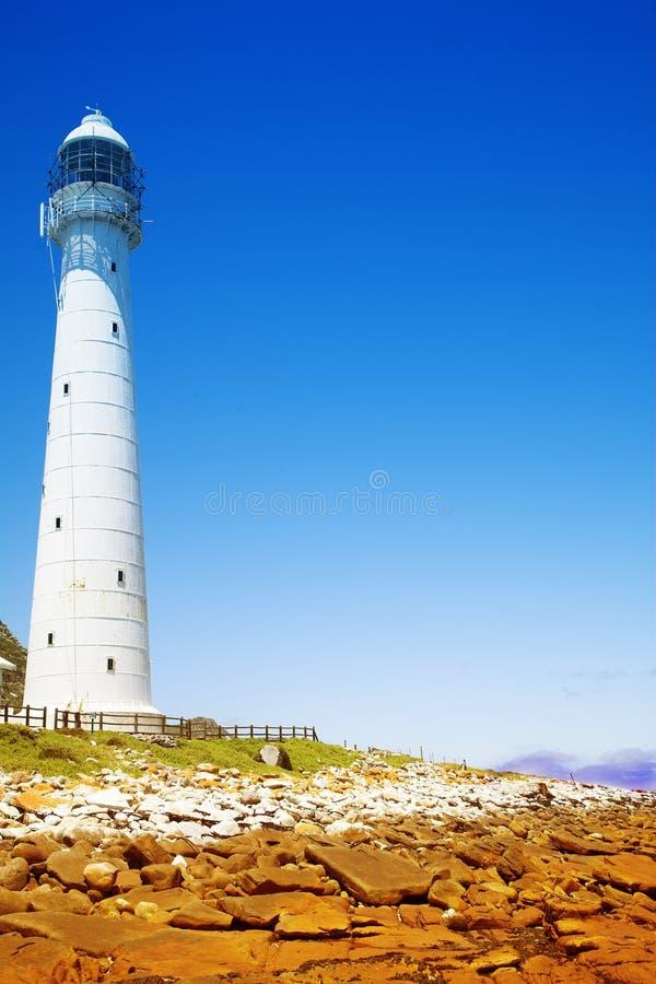 Lighthouse against blue sky. Historical Light House on Atlantic Ocean in South Africa stock photos