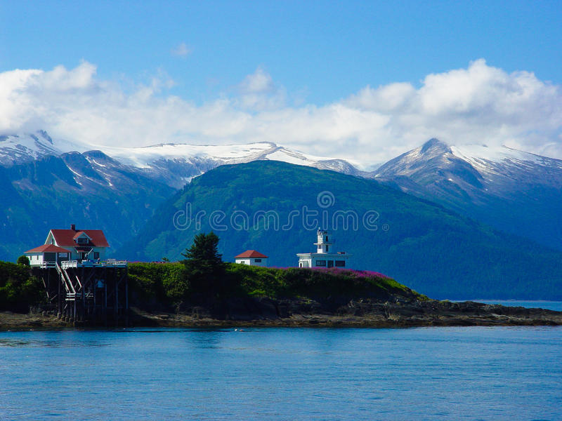 Lighthouse on Alaskan Inland Passage royalty free stock photography