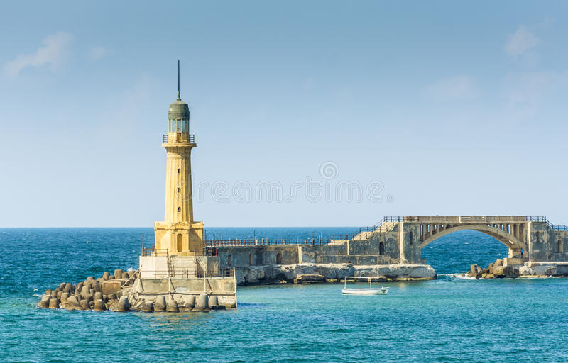 Lighthouse of Alexandria. Elmontazah Lighthouse of Alexandria, Egypt . Mediterranean stock images