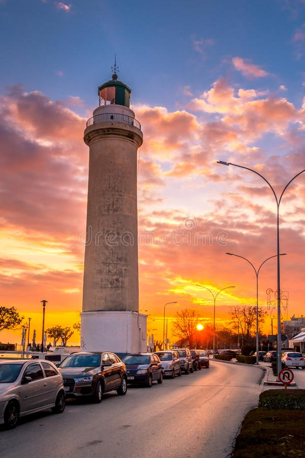 The lighthouse of Alexandroupolis symbol of the town, Greece stock image