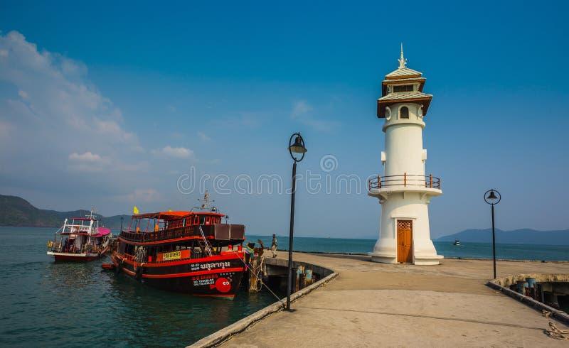 Lighthouse on a Bang Bao pier on Koh Chang Island stock photos
