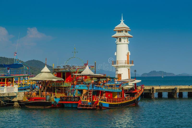 Lighthouse on a Bang Bao pier on Koh Chang Island stock photo