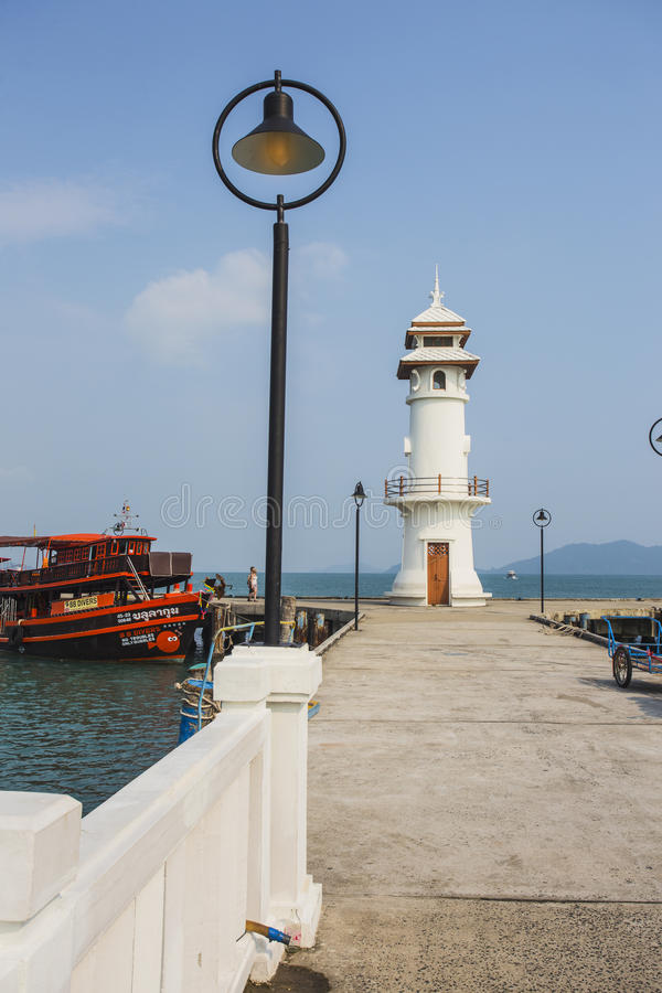 Lighthouse on a Bang Bao pier on Koh Chang Island stock images