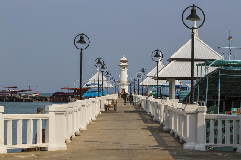 Lighthouse on a Bang Bao pier on Koh Chang Island royalty free stock images