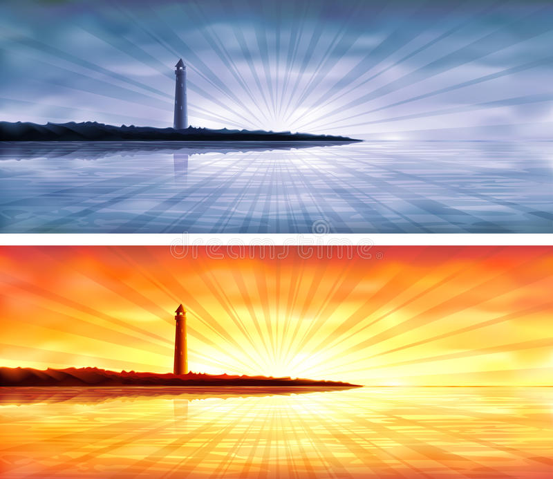 Lighthouse banners royalty free illustration