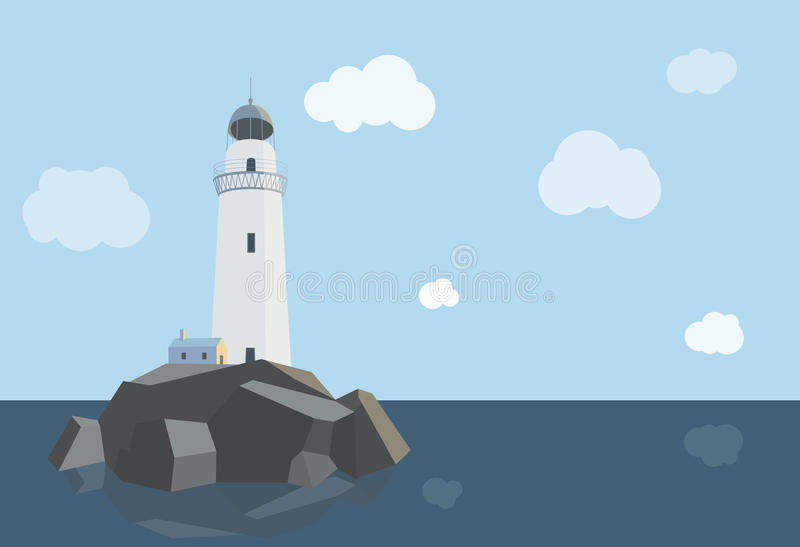 Lighthouse with barn on rocks by the sea , daytime. Lighthouse with barn on the rocks by the sea , daytime, flat illustration vector illustration
