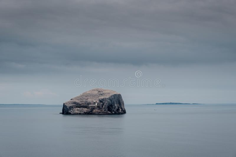 Lighthouse at Bass Rock in Firth of Forth, Scotland stock images