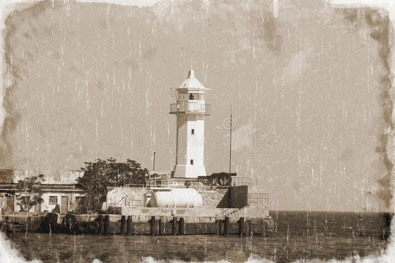 Download Lighthouse in the bay stock image. Image of retro, protect - 17337561