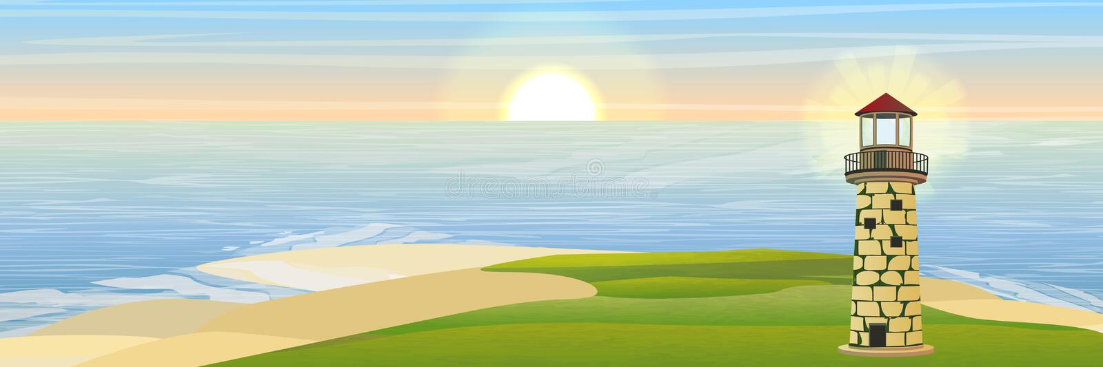 Lighthouse on the bay stock illustration