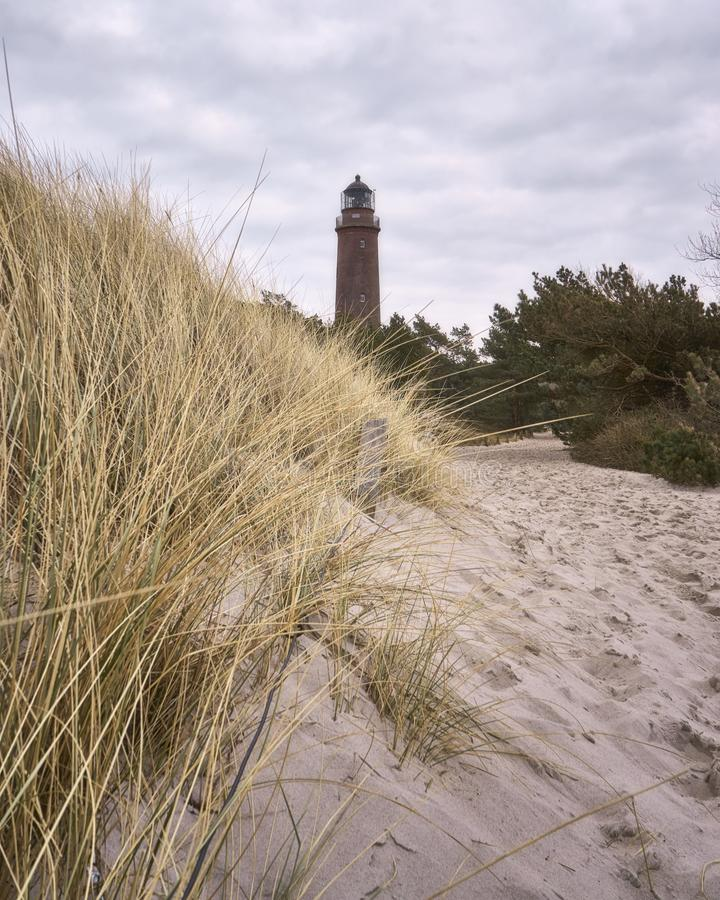 Lighthouse on the beach and dunes with beachgrass on the island Darss, Germany. Baltic, blue, usedom, coast, landscape, north, sea, shore, sky, tower, bank royalty free stock images
