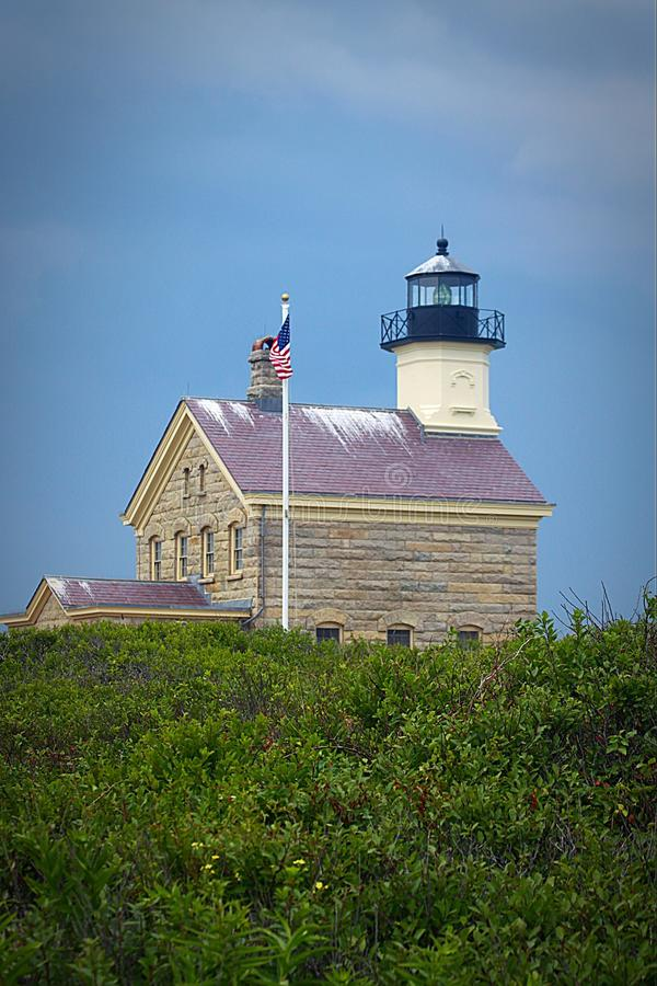Lighthouse at beach stock photography