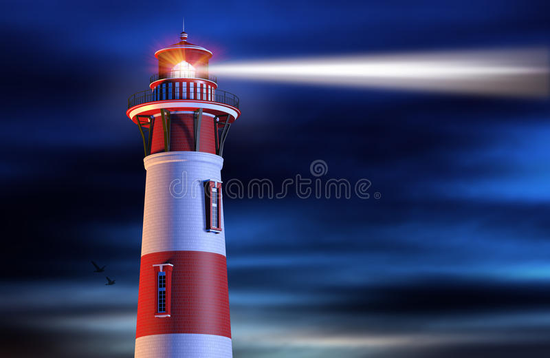 Lighthouse Beam at Night stock illustration