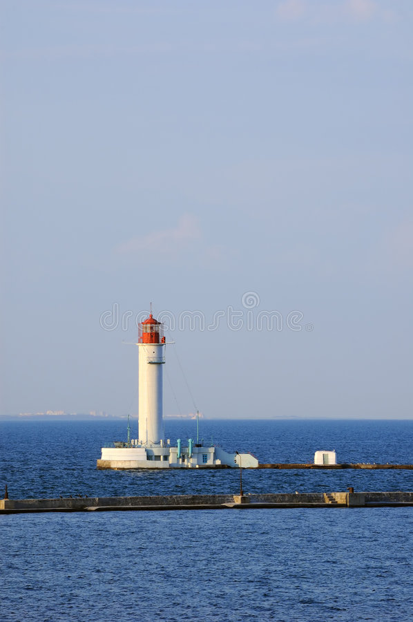 Lighthouse in the black sea stock photos