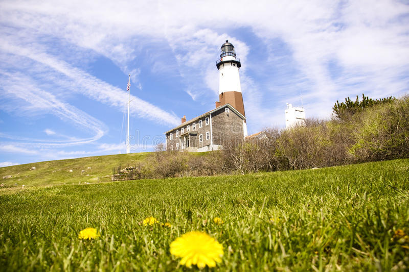 Lighthouse Blues. A lighthouse on the north end of long island in New York stock photos