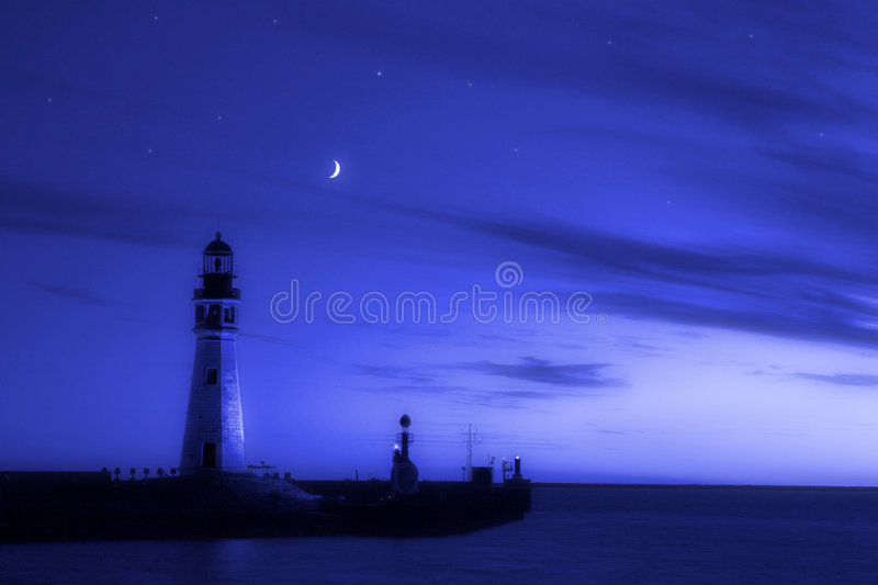 Download Lighthouse Blues stock photo. Image of stars, cresent - 1423384