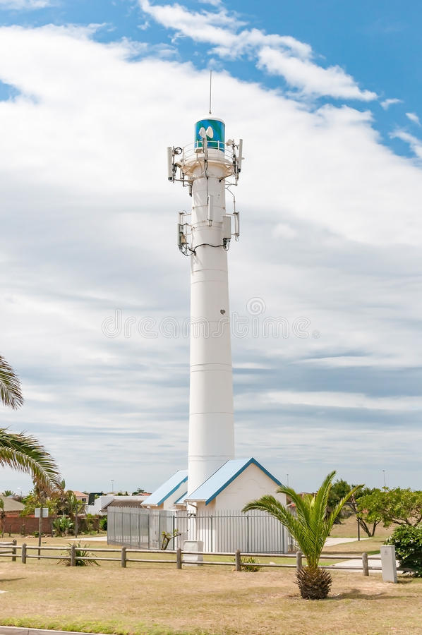 Lighthouse in Bluewater Bay. The lighthouse in Bluewater Bay near Port Elizabeth in the Eastern Cape Province of South Africa royalty free stock image