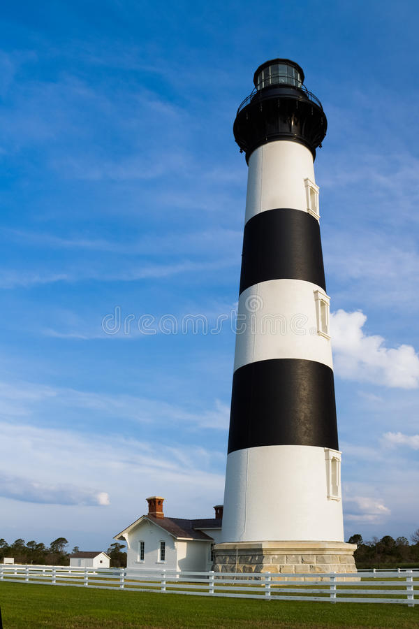 Lighthouse at Bodie Island. Bodie Island Light, a lighthouse in Cape Hatteras National Seashore on North Carolina's Outer Banks, stands tall against a blue sky stock photos