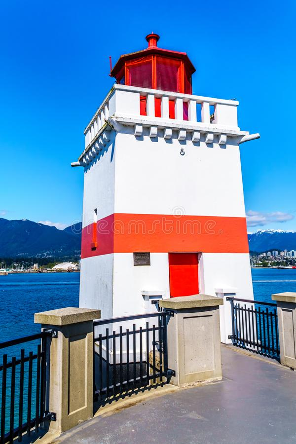 The Lighthouse at Brockton Point on the  Seawall pathway in Vancouver`s Stanley Park. The Lighthouse at Brockton Point on the famous Seawall pathway in Vancouver stock images