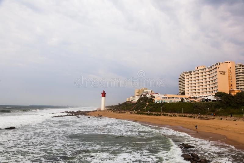 The lighthouse at Umhlanga beach. stock image