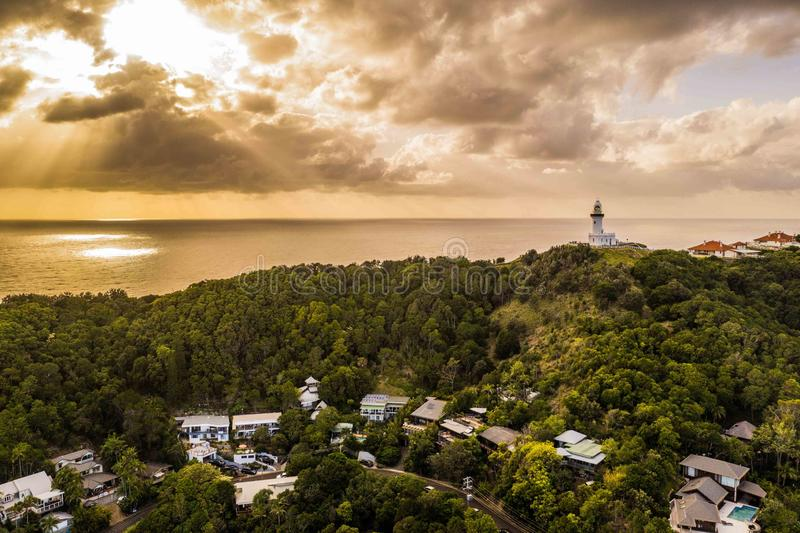 Lighthouse, Byron Bay. Sunrise Byron Bay with a view of the Lighthouse stock images