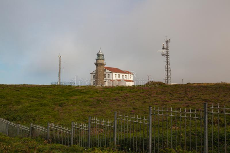 The lighthouse on Cabo Penas coast, Asturias, Spain. The lighthouse that is situated on the Cape has been working since 1852 royalty free stock photography