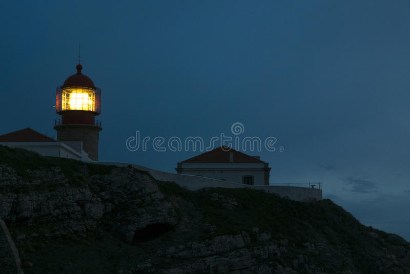 Lighthouse of Cabo Sao Vicente, Sagres, Portugal at sunset. Farol do Cabo Sao Vicente. Portugal royalty free stock image