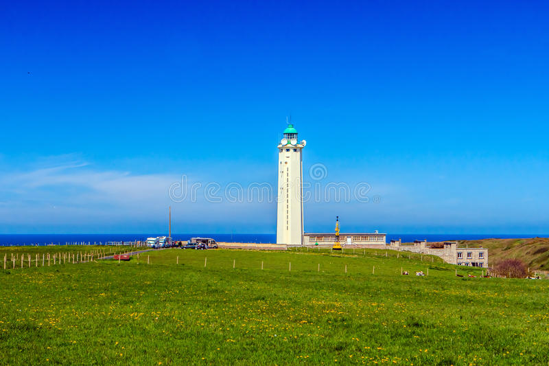 Lighthouse at Cap-dAntifer, Seine Maritime, France. The Lighthouse of Antifer is a monument in the municipality of La Poterie-Cap-d'Antifer (Seine-Maritime stock image