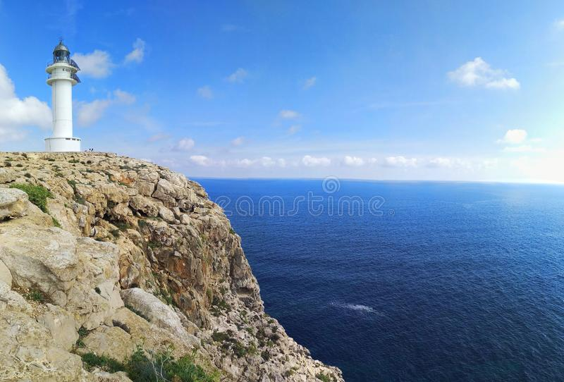 Lighthouse cap de barbaria in formentera on the cliff royalty free stock images