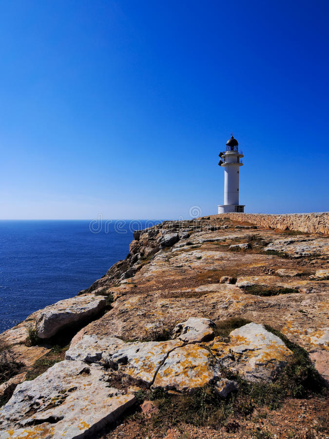 Lighthouse on Cap de Barbaria, Formentera. Lighthouse Cap de Barbaria on the island Formentera, Balearic Islands, Spain royalty free stock image