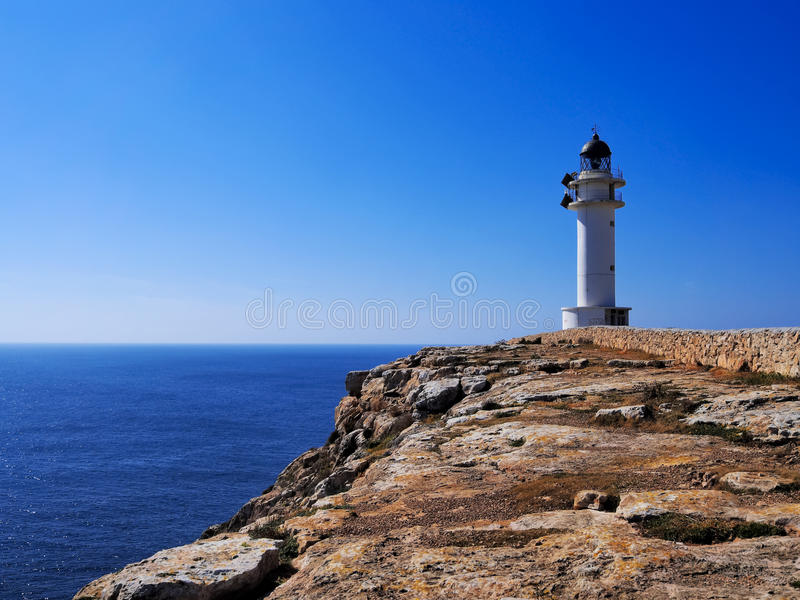 Lighthouse on Cap de Barbaria, Formentera. Lighthouse Cap de Barbaria on the island Formentera, Balearic Islands, Spain royalty free stock images