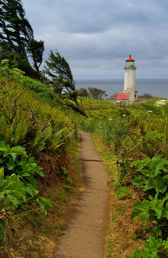 Lighthouse at Cape Disappointment, Washington. North Head lighthouse at Cape Disappointment State Park. Located at the southwest corner of Washington state on royalty free stock image