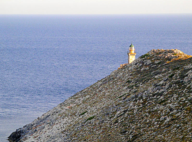 Lighthouse at Cape Matapan, Greece. Lighthouse on the southernmost point of Europe in Greece royalty free stock images