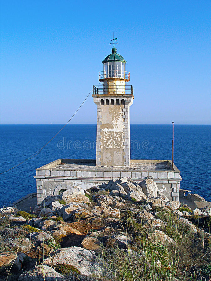 Lighthouse at Cape Matapan, Greece. Lighthouse on the southernmost point of Europe in Greece royalty free stock photography