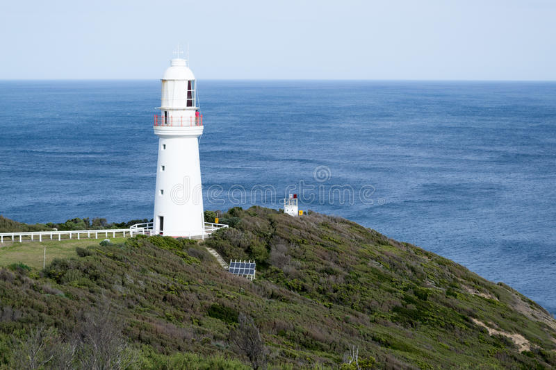 Lighthouse at Cape Otway by the Great Ocean Road. Cape Otway is located in the Great Ocean Road and its lighthouse is iconic stock images