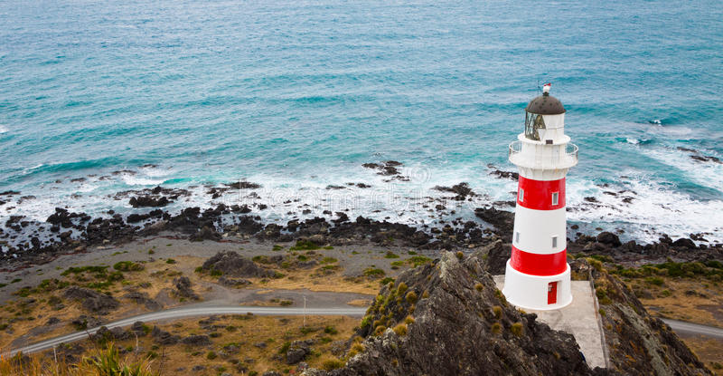 Lighthouse at Cape Palliser, New Zealand stock photo