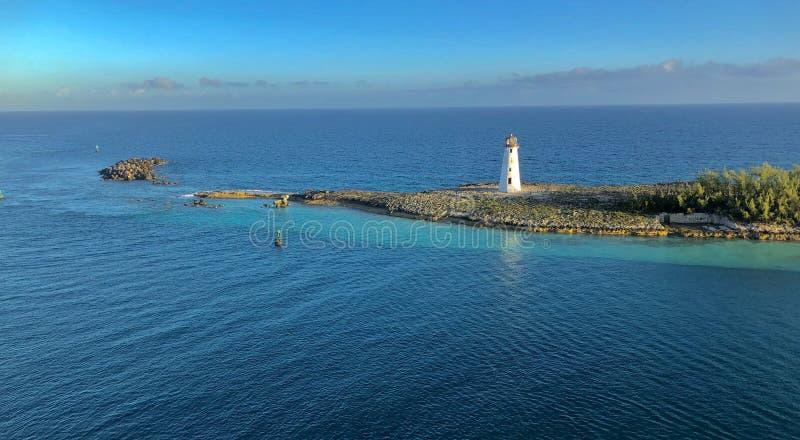 Lighthouse on cape stock image