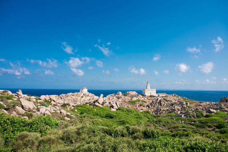 Lighthouse of Capo Testa. Santa Teresa di Gallura, Sardinia island. Italy stock photos