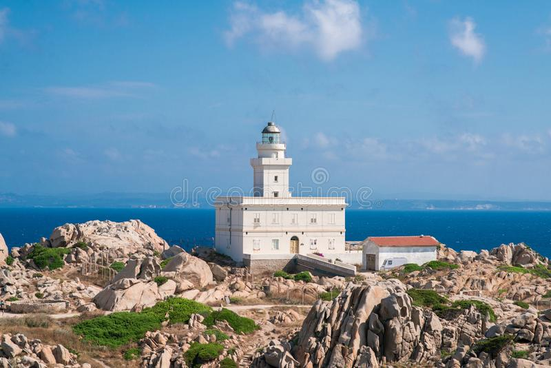 Lighthouse of Capo Testa. Santa Teresa di Gallura, Sardinia island. Italy royalty free stock photography