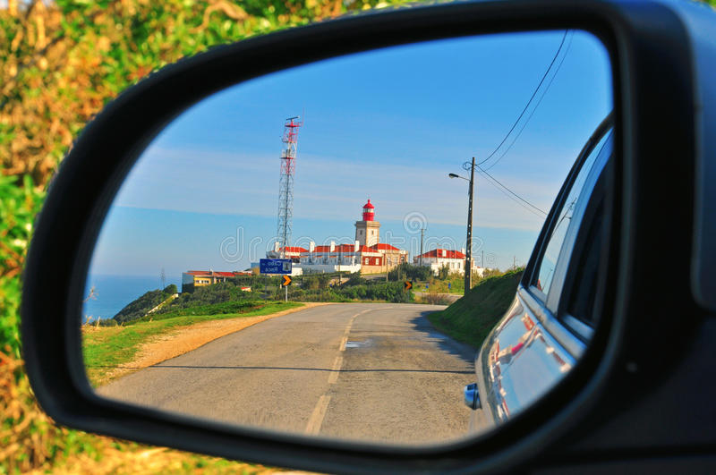Download Lighthouse In The Car Mirror Stock Photo - Image: 36010832